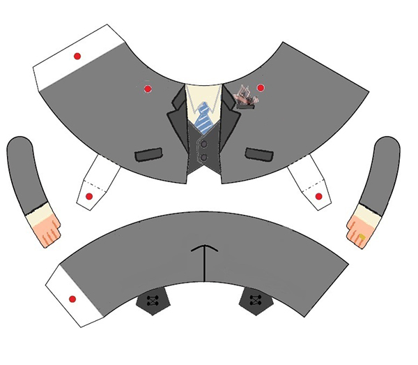 Printable, cuttable paper craft groom's torso