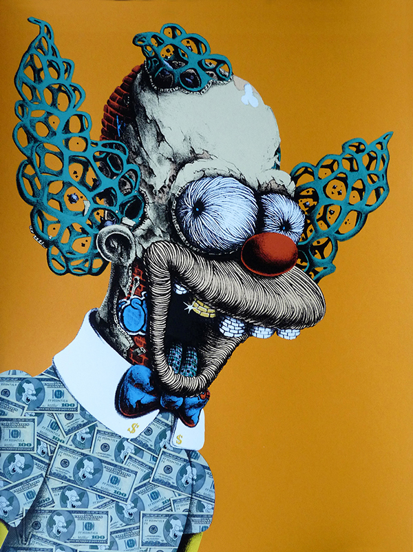 Coloured-in graphic design drawing of Krusty The Clown from The Simpsons with 1 gold tooth and shirt made of money