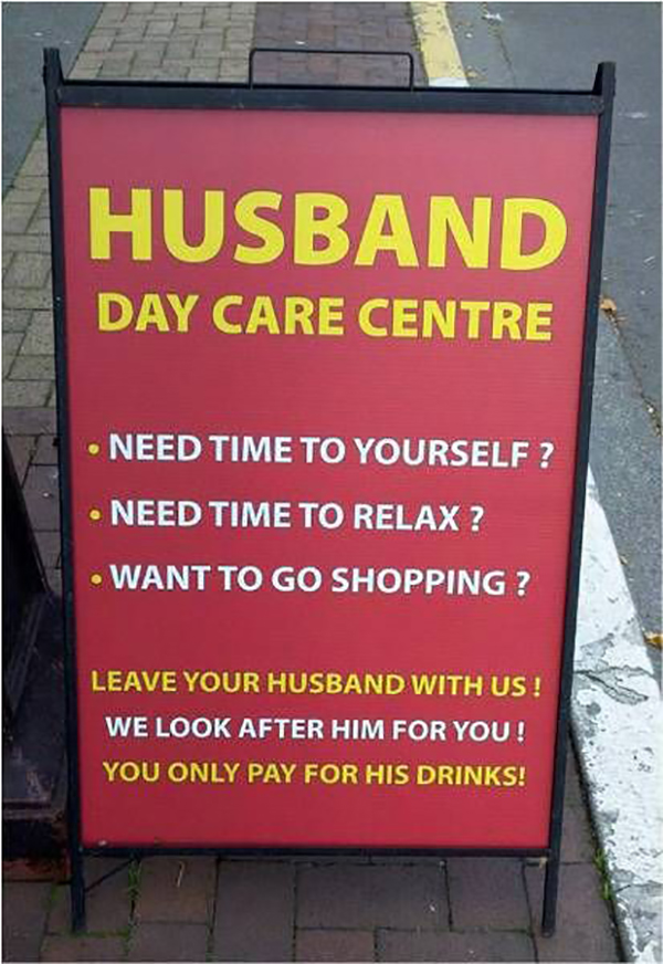 Husband day care centre business sign