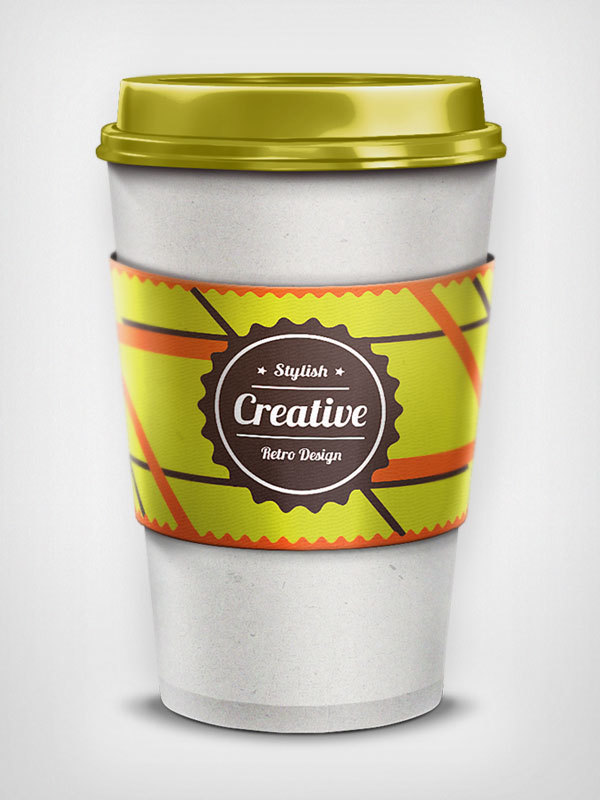 Still image of the lime green coffee cup - label around the packaging is in lime green, brown and orange with a badge reading 'stylish creative retro design'
