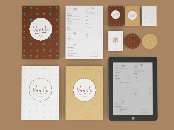 group image of the brand image for Vanilla - menus, web design for tablet, business card and loyalty card