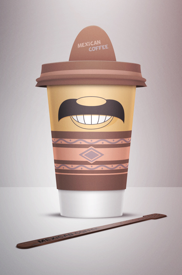 Second coffee cup - 'Mexican Coffee' - the hat is of an sombrero, the cup of of a moustache and a smile