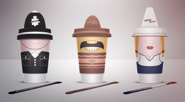 Image of 3 coffee cups next to each other - one looks like an English police officer, one looks like a Mexican wearing a Sombrero and the other is a Dutch lady wearing traditional clothes