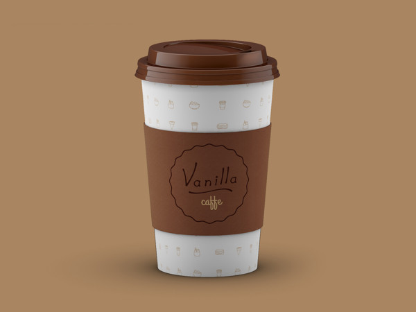 Coffee cup for Vanilla shows a dotted cup with a brown lid and label