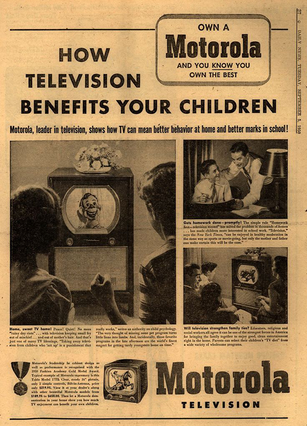 Vintage poster advertising Motorola Television suggests that TV is a great learning resource for your children