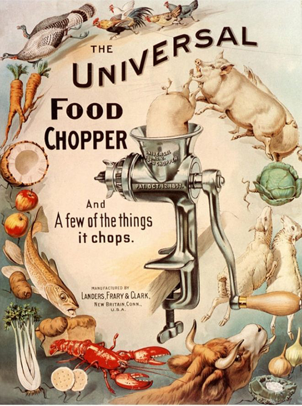 Poster for MAGNET's Universal Food Chopper shows a group of swirling animals and vegetables circling in to the food chopper with a pig going in head first.