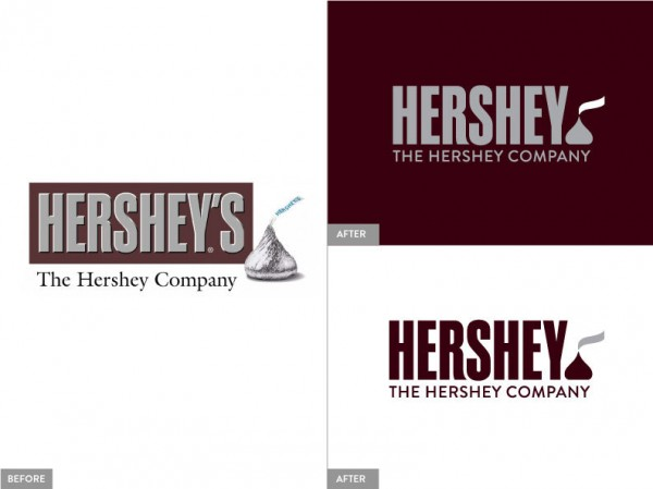 Hershey's logo old and new designs