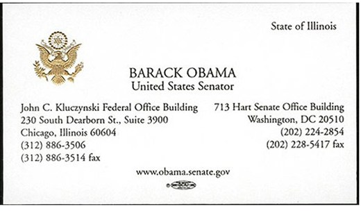 Barack Obama's Business Card