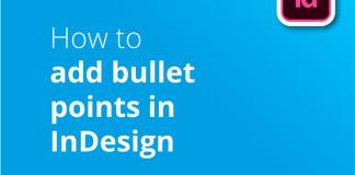 How to add bullet points in InDesign header image