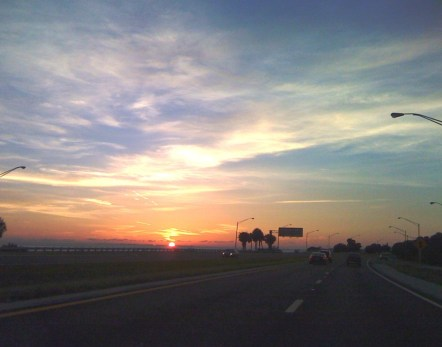 Sunset on I-275 North Before Sunshine Skyway Bridge, Sept. 10, 2010