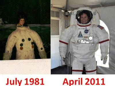 Me in July 1981 and April 2011, Kennedy Space Center, Florida
