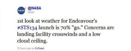 NASA Tweet About Space Shuttle Endeavour's May 16, 2011 Launch; Tweeted May 12, 2011