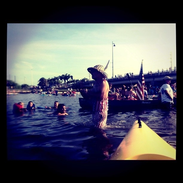 One of the Freedom Swim Founds, Mike Haymans, Gathers the Swimmers, July 4, 2011