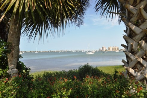 Scenic View of the Sarasota Waterfront, Marie Selby Botanical Gardens, Sarasota, Fla.