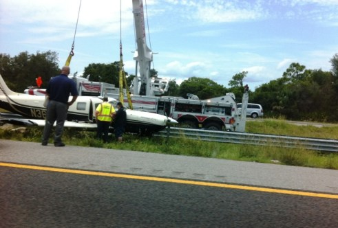 Single Engine Plane Landed in an I-75 Medium Near Tampa, Delayed Traffic, Aug. 23, 2012