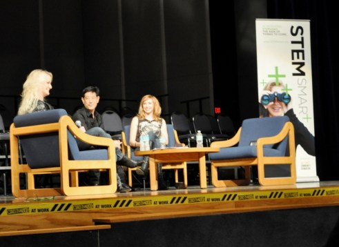Grant Imahara (Center) and Kari Byron (Right) Talk About Debunking Myths on MythBusters