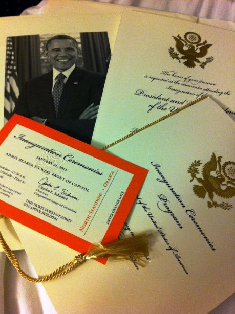 Invitation and Ticket for the 57th Presidential Inauguration, Jan. 21, 2013