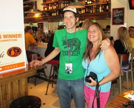 The Great Chicken Wing Hunt Director Matt Reynolds and Sarasota Film Festival Photographer Janet Combs, Clasico Cafe, Sarasota, Fla., April 8, 2013