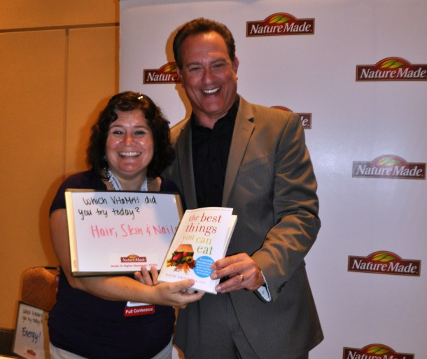 That's Me with Registered Dietician and Author David Grotto during the Nature Made VitaMelts Breakfast during BlogHer 2013 in Chicago