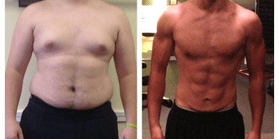 Sol's client Myles before and after showing what is possible. He had never been lean in his life.