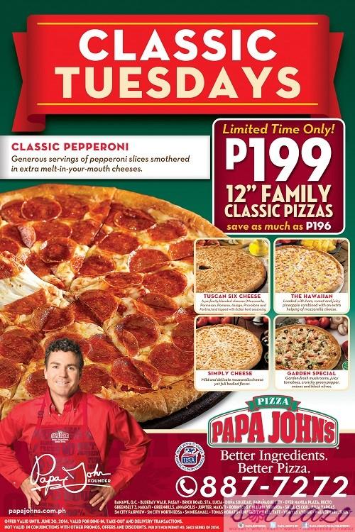 Papa John's Classic Tuesdays Promo