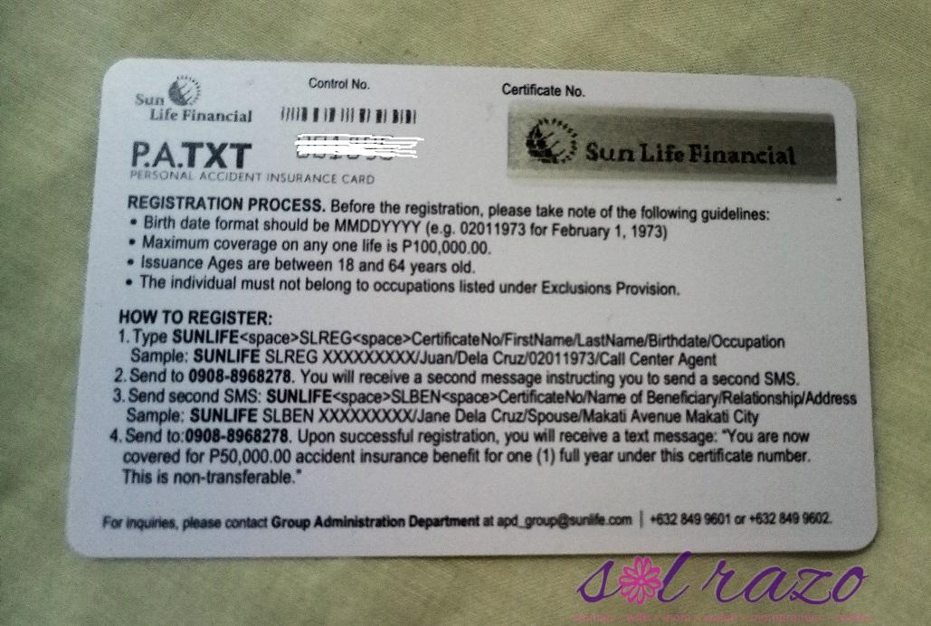 Sun Life PA TXT Card