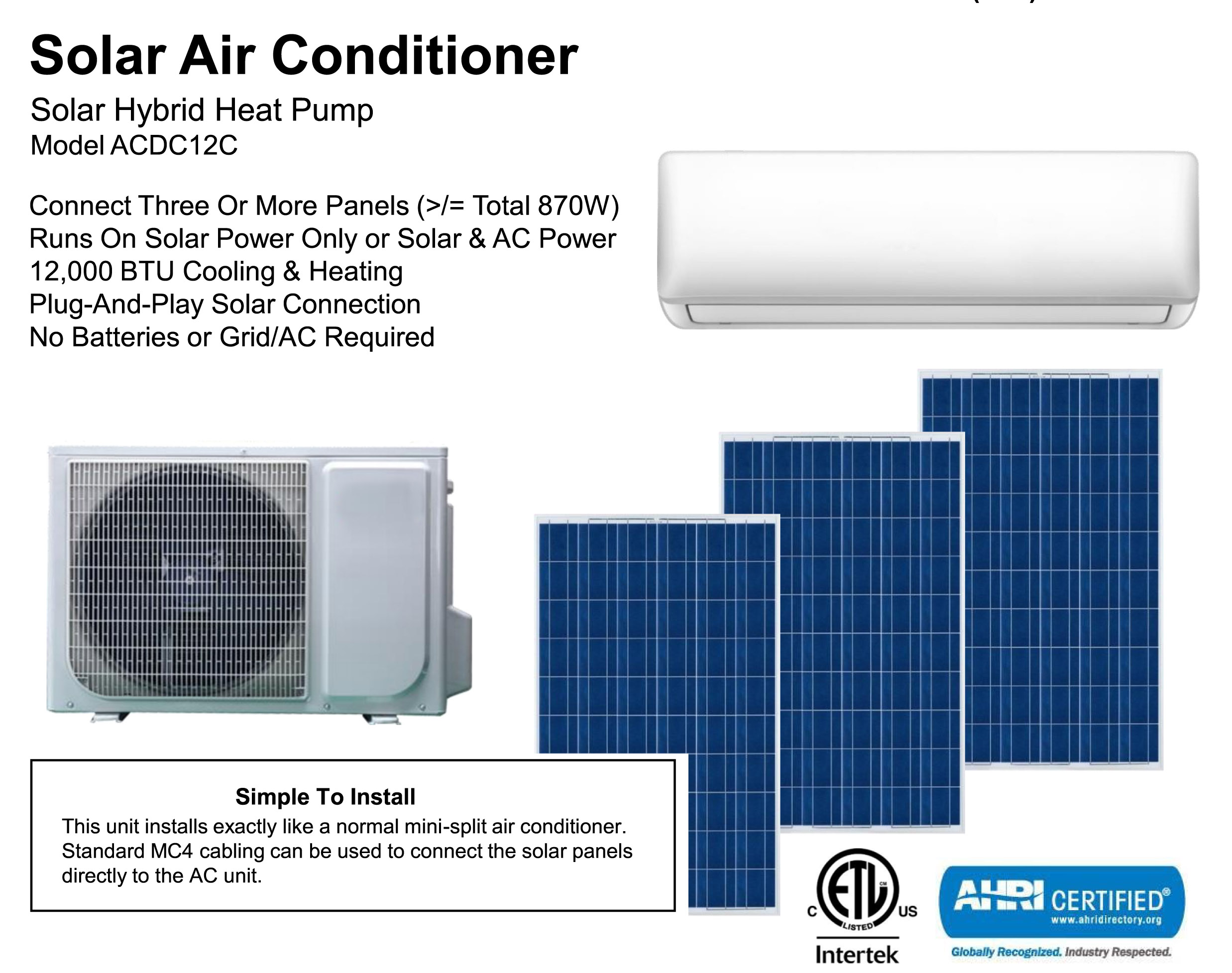 Solar Air Conditioner Pre Order New Model Sol Survivor