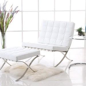 Silla BARNA con ottoman, piel top blanca