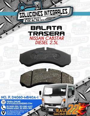 BALATA TRASERA NISSAN CABSTAR 2.5L DIESEL