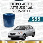 FILTRO ACEITE ATTITUDE 1.6L 2006-2011