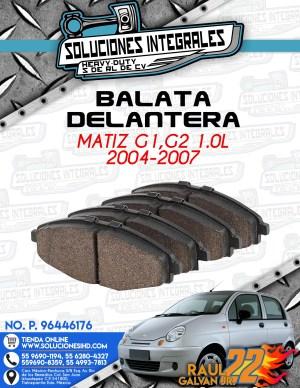 BALATA DELANTERA MATIZ G1-G2 1.0L 2004-2007