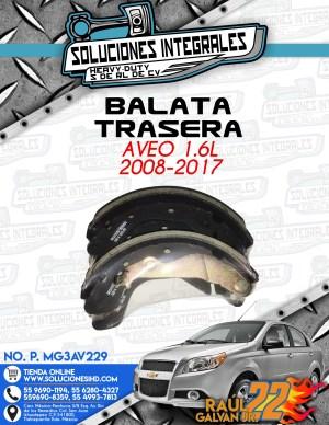 BALATA TRASERA AVEO 1.6L 2008-2017
