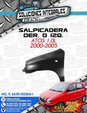 SALPICADERA DER. O IZQ. ATOS 1.0L 2000-2005
