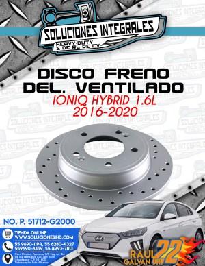 DISCO FRENO DELANTERO VENTILADO IONIQ HYBRID 1.6L 2016-2020
