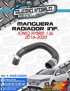 MANGUERA RADIADOR INFERIOR IONIQ HYBRID 1.6L 2016-2020