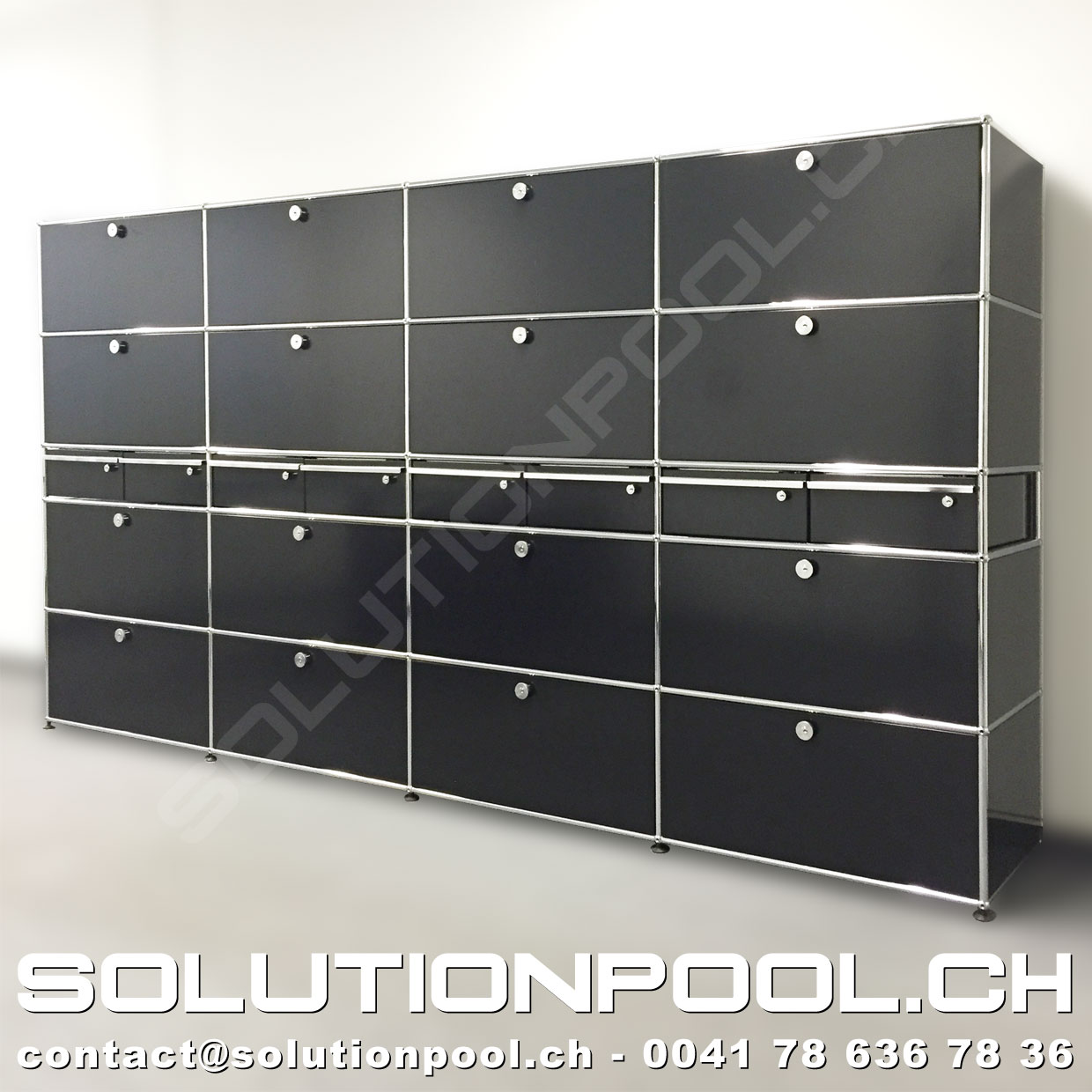 usm regal schwarz solutionpool first class second hand for home and office. Black Bedroom Furniture Sets. Home Design Ideas