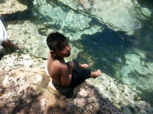 Samuel at the cenote azul