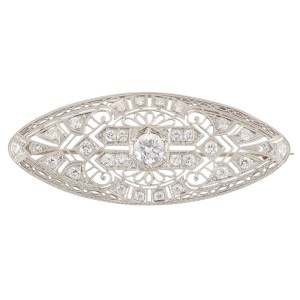 Platinum and Diamond Filigree Pin
