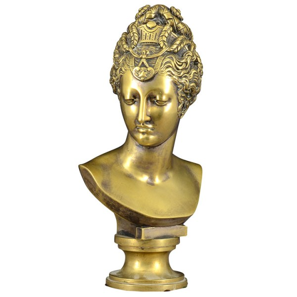Bronze Bust of a Pretty Woman with a Tiara