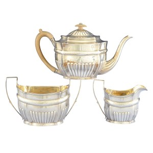 English Sterling Three Piece Tea Set by Hannah Northcote