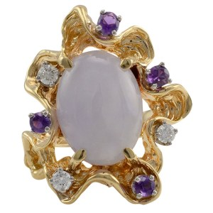 14K Yellow Gold Lavender Jadeite, Diamond and Amethyst Ring