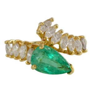 1.50 Carat Emerald Ring with Marquise Diamonds
