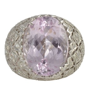 10.91 Carat Kunzite Ring with Diamonds