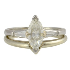 0.75 Carat Marquise Diamond Platinum Engagement Set