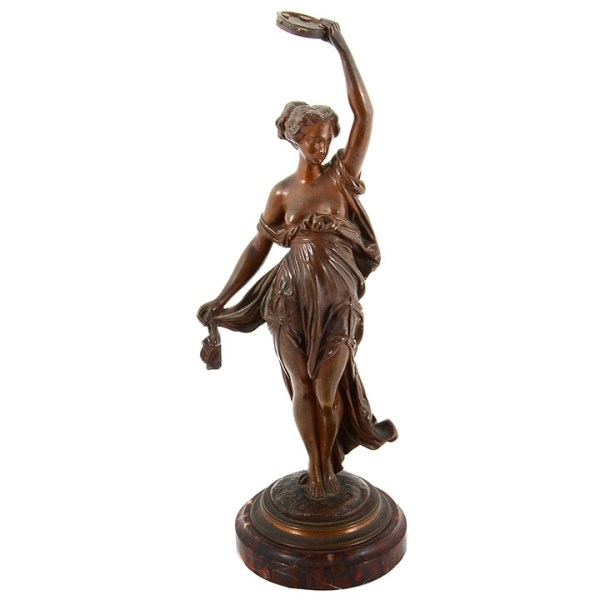 Bronze Sculpture Dancer with Tambourine Signed Carrier Belleuse