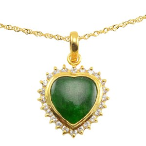 18 Karat Yellow Gold Heart Shaped Jade Pendant