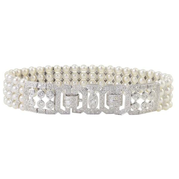 3.50 CTW Diamond and Four Strand Pearl Bracelet