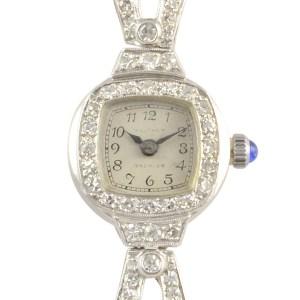 Waltham Platinum and White Gold Diamond Wrist Watch