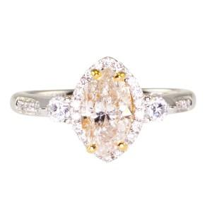 0.95 Carat Marquise Diamond 18K White Gold Ring