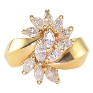 1.45 CTW Marquise Diamond Bypass Ring